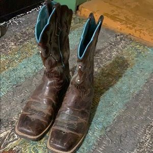 Arita Brown and Turquoise Square Toe boots